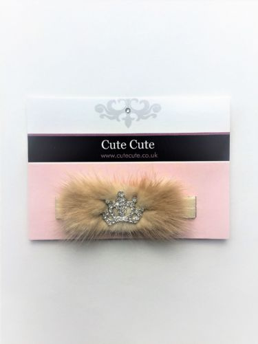 Cute Cute Soft Fur And Crown Head Band